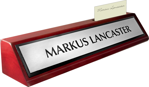 Rosewood Piano Finish Deskplate - Brushed Silver Metal Name Plate with a Black Border, Card Slot