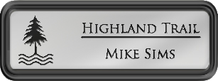 Framed Name Tag: Black Plastic (rounded corners) - Shiny Silver and Black Plastic Insert with Epoxy