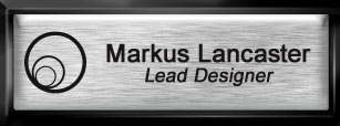 Framed Name Tag: Black Plastic (squared corners) - Brushed Aluminum and Black Plastic Insert with Epoxy