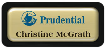 Metal Name Tag: Shiny Gold Metal Name Tag with a Black Plastic Border and Epoxy