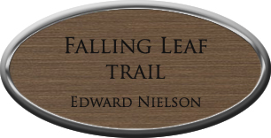 Framed Name Tag: Silver Plastic (oval) - Deep Bronze and Black Plastic Insert