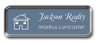 Framed Name Tag: Silver Metal (rounded corners) - China Blue and White Plastic Insert with Epoxy