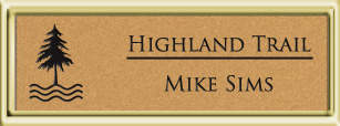 Framed Name Tag: Gold Plastic (squared corners) - Smooth Gold and Black Plastic Insert