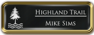 Framed Name Tag: Gold Metal (rounded corners) - Black and White Plastic Insert with Epoxy