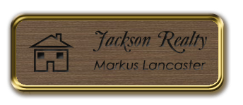 Framed Name Tag: Gold Metal (rounded corners) - Deep Bronze and Black Plastic Insert with Epoxy