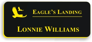 Smooth Plastic Name Tag: Black with Yellow - LM922-407