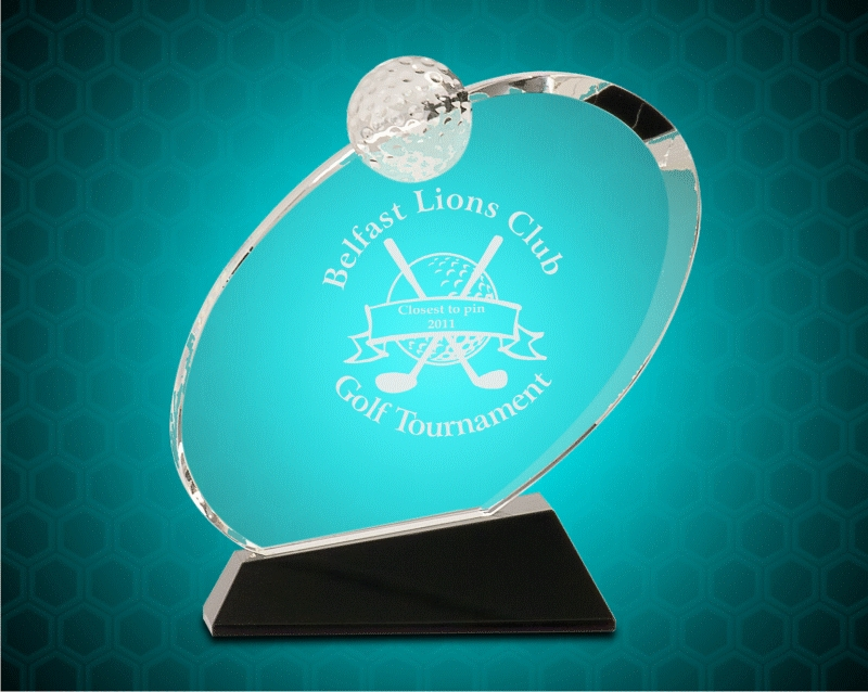 6 1/2 Inch Clear Crystal Oblong Golf Award On Black Crystal Base