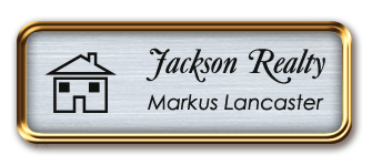 Rose Gold Metal Framed Nametag with Brushed Aluminum and Black