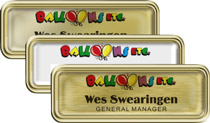 Gold Rounded Frame Nametags with Epoxy