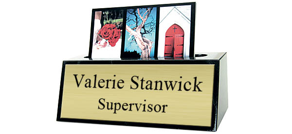 Black Marble Small Desk Name Plate with Card Holder - Brushed Gold Metal Plate