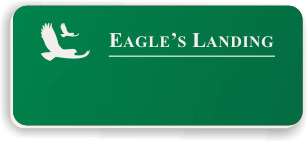 Blank Smooth Plastic Name Tag with Logo: Kelley Green and White