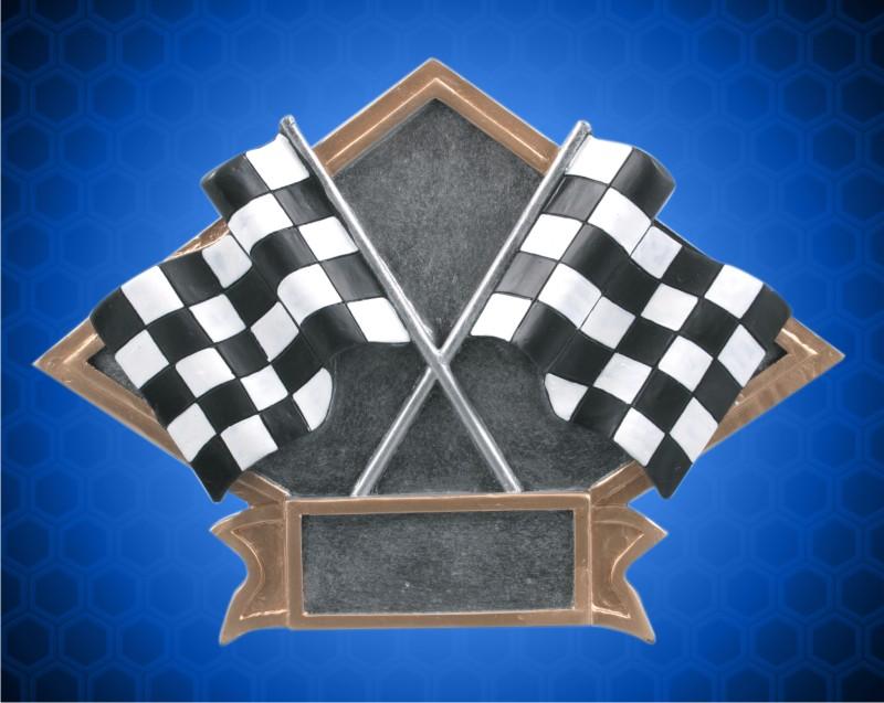 6 x 8 1/2 Inch Racing crossed Flags Diamond Resin