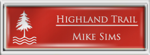 Framed Name Tag: Silver Plastic (squared corners) - Crimson and White Plastic Insert with Epoxy