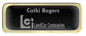 Metal Name Tag: Black and Silver with Epoxy and Shiny Gold Metal Border