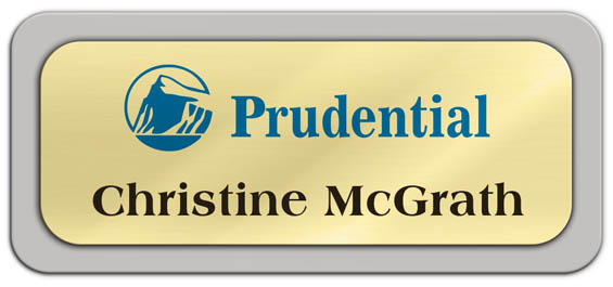 Metal Name Tag: Shiny Gold Metal Name Tag with a Pearl Grey Plastic Border