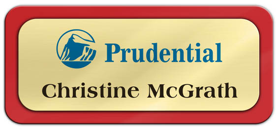 Metal Name Tag: Shiny Gold Metal Name Tag with a Red Plastic Border