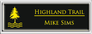 Framed Name Tag: Silver Plastic (squared corners) - Black and Yellow Plastic Insert
