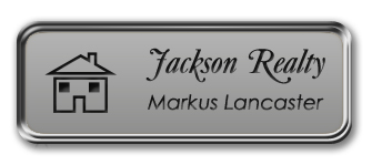 Silver Metal Framed Nametag with Smooth Silver and Black