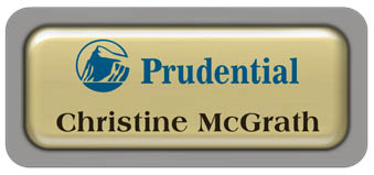 Metal Name Tag: Shiny Gold Metal Name Tag with a Grey Plastic Border and Epoxy