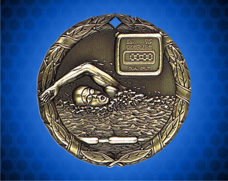 1 1/4 inch Gold Swimming XR Medal