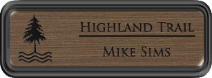 Framed Name Tag: Black Plastic (rounded corners) - Deep Bronze and Black Plastic Insert