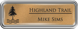 Framed Name Tag: Silver Plastic (rounded corners) - Smooth Gold and Black Plastic Insert with Epoxy