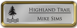Framed Name Tag: Gold Metal (rounded corners) - Smooth Silver and Black Plastic Insert with Epoxy