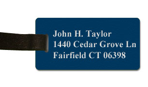 Textured Plastic Luggage Tag: Royal Blue with White - 822-592