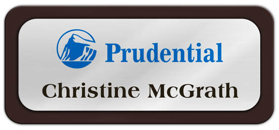 Metal Name Tag: Shiny Silver Metal Name Tag with a Dark Brown Plastic Border