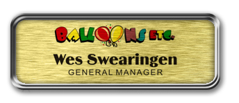 Silver Metal Framed Nametag with Brushed Gold Metal Insert
