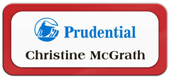 Metal Name Tag: White Metal Name Tag with a Red Plastic Border