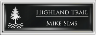 Framed Name Tag: Silver Plastic (squared corners) - Black and White Plastic Insert with Epoxy