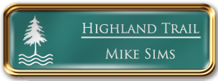 Framed Name Tag: Rose Gold Metal (rounded corners) - Celadon Green and White Plastic Insert with Epoxy