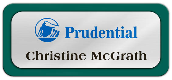 Metal Name Tag: Shiny Silver Metal Name Tag with a Pine Green Plastic Border