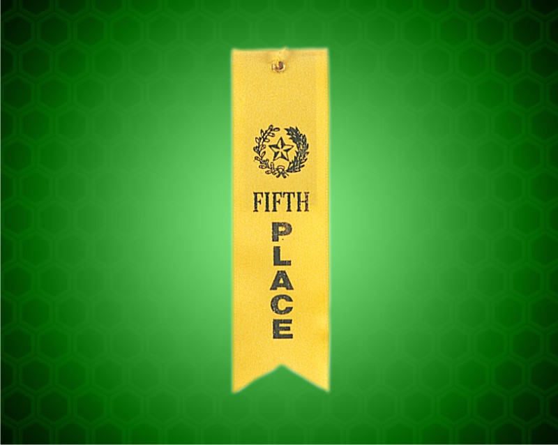 Yellow 5th Place Carded Ribbon