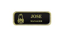 Metal Name Tag: Black and Gold with a Brushed Gold Border