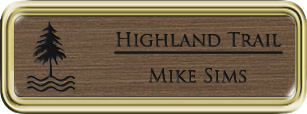 Framed Name Tag: Gold Plastic (rounded corners) - Deep Bronze and Black Plastic Insert