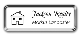 Silver Metal Framed Nametag with White and Black