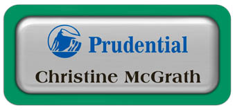 Metal Name Tag: Shiny Silver Metal Name Tag with a Bright Green Plastic Border and Epoxy