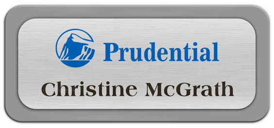 Metal Name Tag: Brushed Silver Metal Name Tag with a Grey Plastic Border