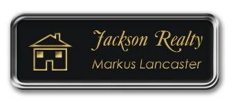 Silver Metal Framed Nametag with Black and Gold Plastic Tag