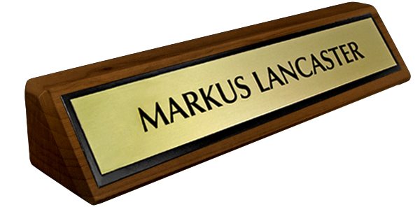 Solid Walnut Desk Plate - Brushed Gold Metal Plate with Black Border