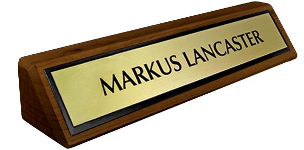 Solid Walnut Desk Plate - Brushed Gold Metal Plate with Black Border