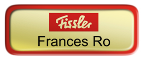 Metal Name Tag: Shiny Gold with Red Metal Border