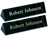 Black Marble Triangle Desk Plates with Filled Engraving