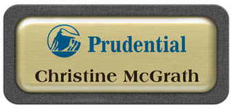 Metal Name Tag: Brushed Gold Metal Name Tag with a Graphite Plastic Border and Epoxy