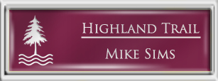 Framed Name Tag: Silver Plastic (squared corners) - Claret and White Plastic Insert with Epoxy