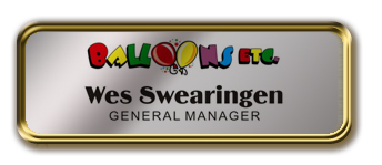 Gold Metal Framed Nametag with Shiny Silver Metal Insert