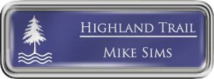 Framed Name Tag: Silver Plastic (rounded corners) - Purple and White Plastic Insert with Epoxy