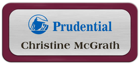Metal Name Tag: Brushed Silver Metal Name Tag with a Burgundy Plastic Border